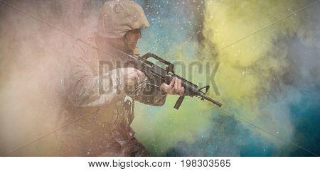 black against full length of  military ready to shoot