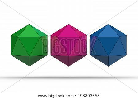 3d illustration of icosahedron isolated on white