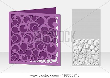 Card with circular pattern for laser cutting. Silhouette design. It is possible to use for weddings, Valentines, birthday, invitations, presentations, greetings, holidays, celebrations, save the day. Vector illustration.