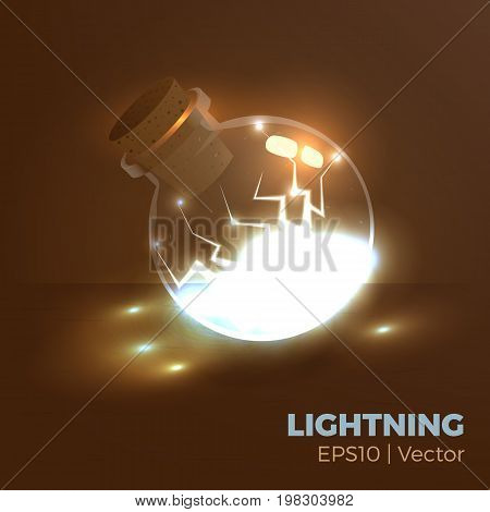 Bottle of energy, magic lightning elixir. Vector illustration of tranparent flask with electricity inside. Game vial icon, interface for rpg game. Realistic.