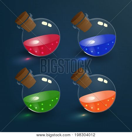 Bottles of mana, poison, vitality, dextrity magic elixirs. Vector illustration of tranparent flasks set with colorful liquids. Game vial icons, interface for rpg game. Easy to change color. Realistic.