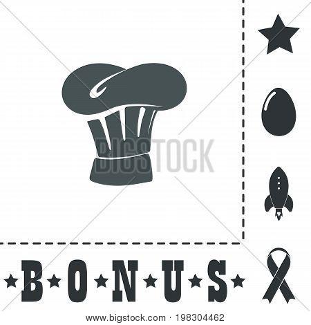 Chefs Hat. Simple flat symbol icon on white background. Vector illustration pictogram and bonus icons