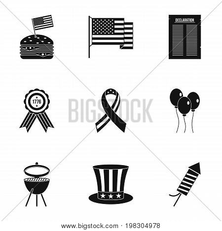 American independence holiday icon set. Simple style set of 9 independence day vector icons for web isolated on white background
