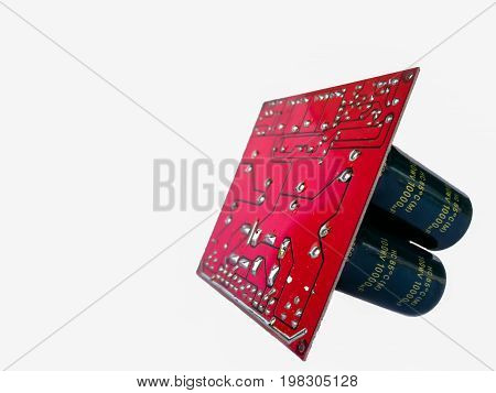 Electronic Device Printed Circuit Board. PCB Isolated on White Background. Electronic Components