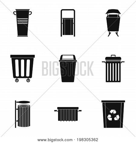 Garbage can icon set. Simple style set of 9 garbage storage vector icons for web isolated on white background