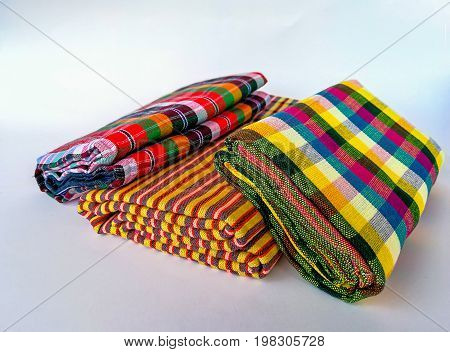 colorful of Thai Northeastern fabric Thai hand made fabric pattern