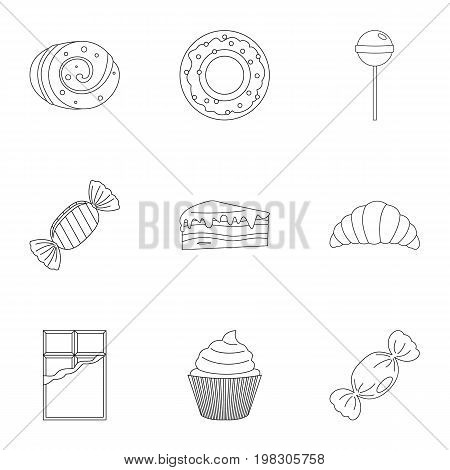 Sweet desserts icon set. Outline style set of 9 sweet vector icons for web isolated on white background