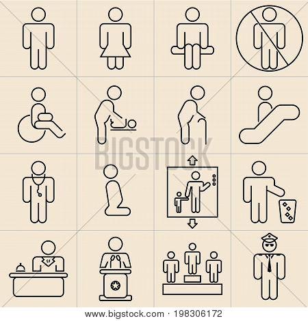 Exhibition trade fair Line Icons Set 16