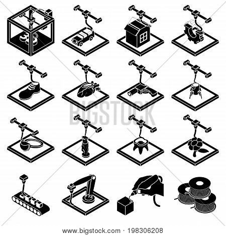 3d printing icons set. Simple illustration of 16 3d printing icons set vector icons for web