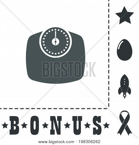 Bathroom scale. Simple flat symbol icon on white background. Vector illustration pictogram and bonus icons