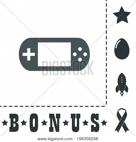 Handheld game console. Simple flat symbol icon on white background. Vector illustration pictogram and bonus icons