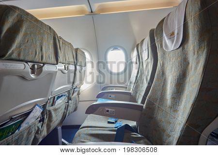 HANOI, VIETNAM - MAY 11, 2015: inside an Vietnam Airlines aircraft.