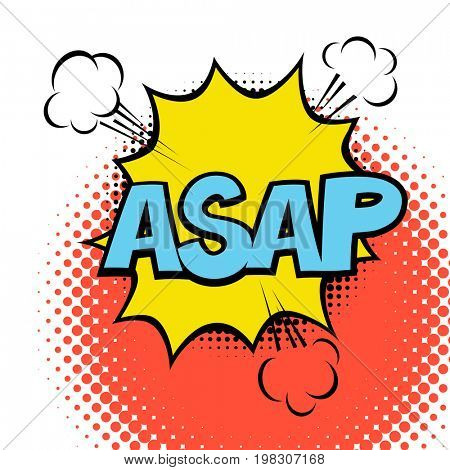 ASAP. Colorful speech bubble with lightning. Comic alphabet. Halftone background