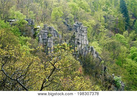 Rock formation above the Bodetal valley near Thale in the Harz National Park