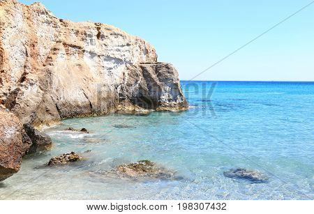 turquoise sea at Petrified Forest beach Lakonia Peloponnese Greece