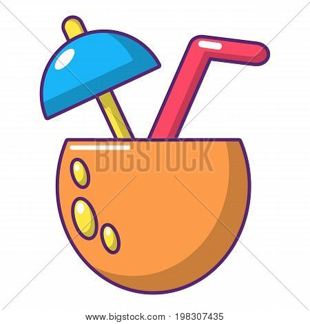 Cocktail of coconut icon. Cartoon illustration of cocktail of coconut vector icon for web design