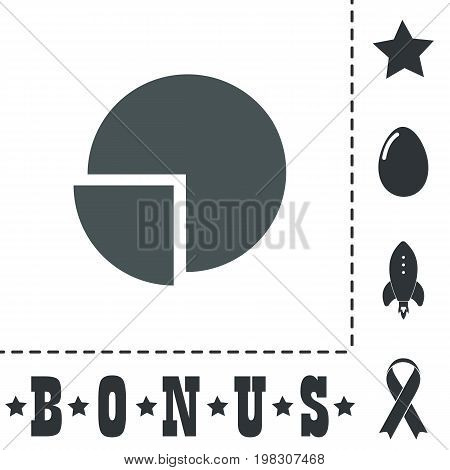 Pie chart. Simple flat symbol icon on white background. Vector illustration pictogram and bonus icons