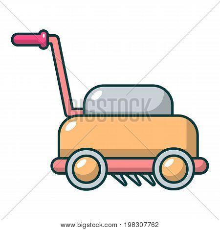 Lawn mower machine icon. Cartoon illustration of lawn mower machine vector icon for web design