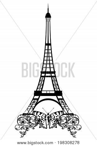 eiffel tower with butterfly and flowers - black and white vector design of Paris landmark