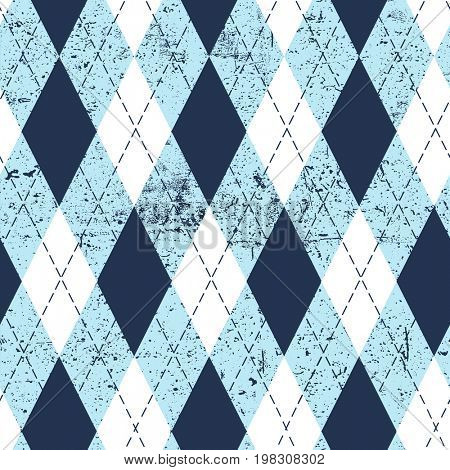 Seamless argyle aged pattern. Traditional diamond check print in moderate blue, soft blue and white with black stitch and grunge texture. Grunge vintage seamless background.