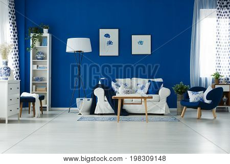Blue Wall In Room