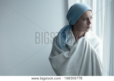 Breast Cancer Patient In Blanket