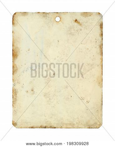 Metal tag sheet isolated on white background