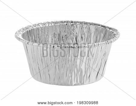 Aluminum foil cup isolated on white background