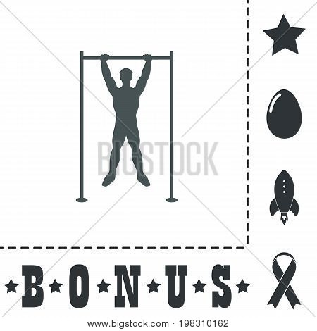 Horizontal bar and man. Simple flat symbol icon on white background. Vector illustration pictogram and bonus icons