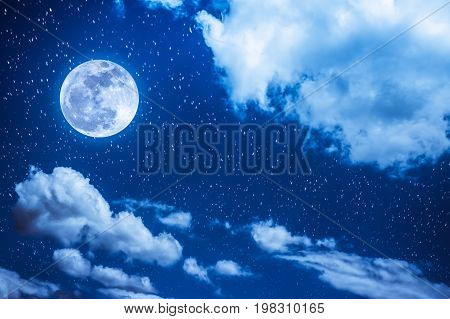 Night Sky With Bright Full Moon And Cloudy, Serenity Blue Nature Background.