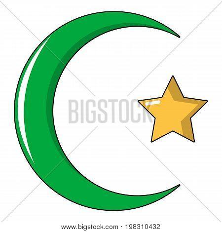 Star, crescent symbol of islam icon. Cartoon illustration of star, crescent symbol of islam vector icon for web design