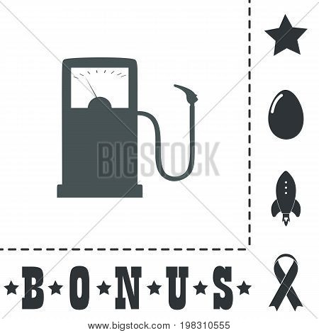 Gas station. Simple flat symbol icon on white background. Vector illustration pictogram and bonus icons