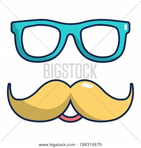 Nerd glasses and mustaches icon. Cartoon illustration of nerd glasses and mustaches vector icon for web design