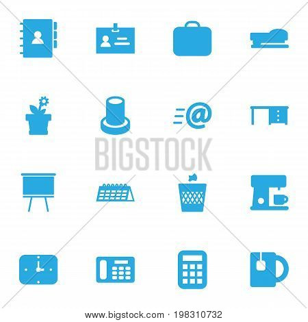 Collection Of Espresso, Message, Desktop And Other Elements.  Set Of 16 Office Icons Set.