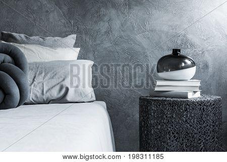 Gray Bedroom Close-up, Textured Wall