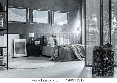 Monochromatic Gray Bedroom, Mixed Textures