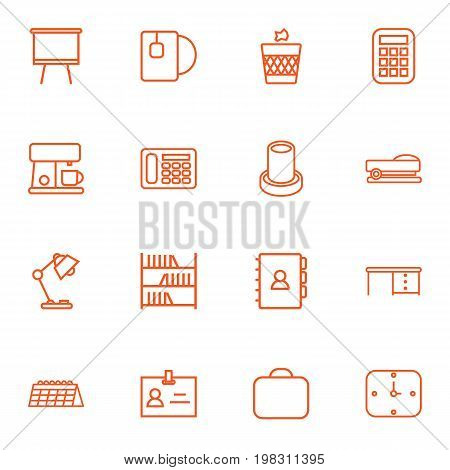 Collection Of Pencil, Wall Clock, Coffee Maker And Other Elements.  Set Of 16 Bureau Outline Icons Set.