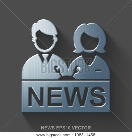 Flat metallic news 3D icon. Polished Steel Anchorman icon with transparent shadow on Gray background. EPS 10, vector illustration.