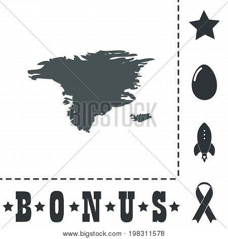 Alaska map. Simple flat symbol icon on white background. Vector illustration pictogram and bonus icons