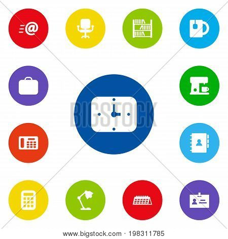 Collection Of Time, Date, Book And Other Elements.  Set Of 13 Workspace Icons Set.