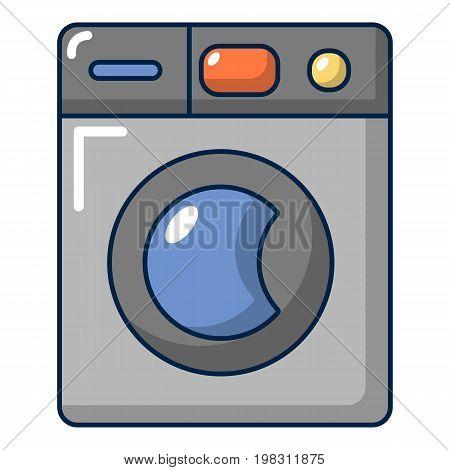 Grey washing machine icon. Cartoon illustration of grey washing machine vector icon for web design