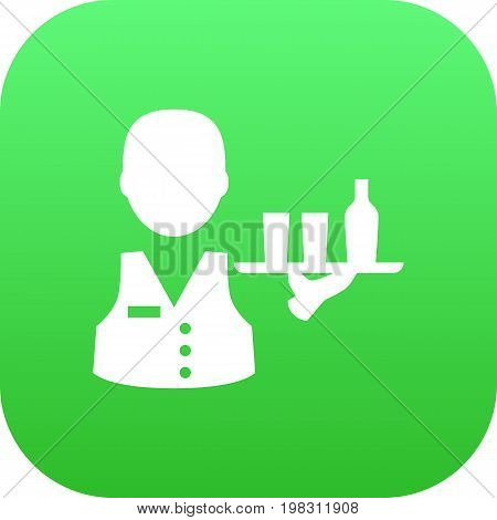 Vector Servant  Element In Trendy Style.  Isolated Waiter Icon Symbol On Clean Background.