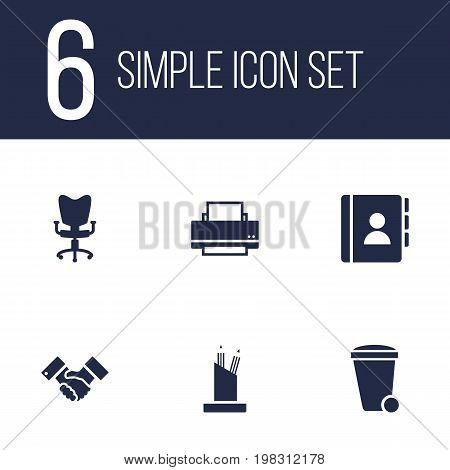 Collection Of Pencil Stand, Trash Can, Address Book Elements.  Set Of 6 Work Icons Set.