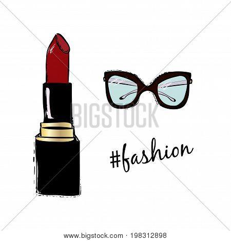 Vector Fashion Sketch Set. Hand Drawn Graphic Lipstick, Eye Glasses And Fashion Hashtag Inscription.