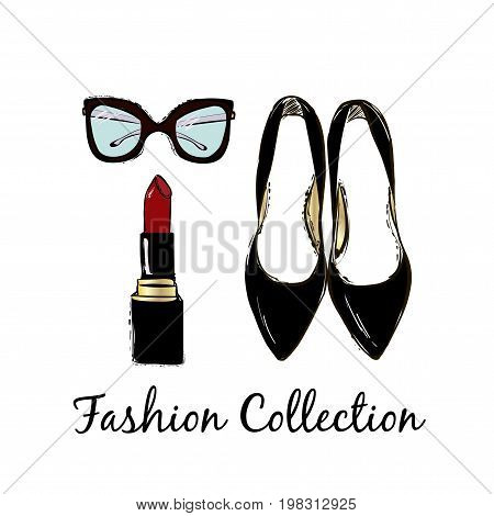 Vector Fashion Sketch Set. Hand Drawn Graphic Shoes, Lipstick, Eye Glasses. Fashion Collection Inscr
