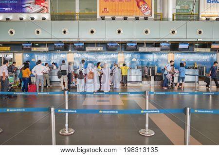 HANOI, VIETNAM - MAY 11, 2015: check-in area at Noi Bai International Airport.