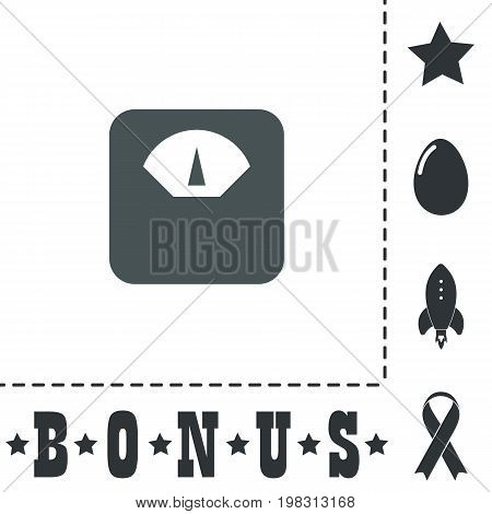 Weighting apparatus. Simple flat symbol icon on white background. Vector illustration pictogram and bonus icons
