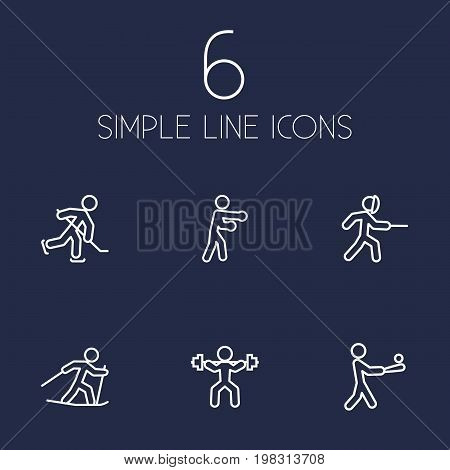 Collection Of Swordplay, Power-Lifting, Ski Running And Other Elements.  Set Of 6 Sport Outline Icons Set.