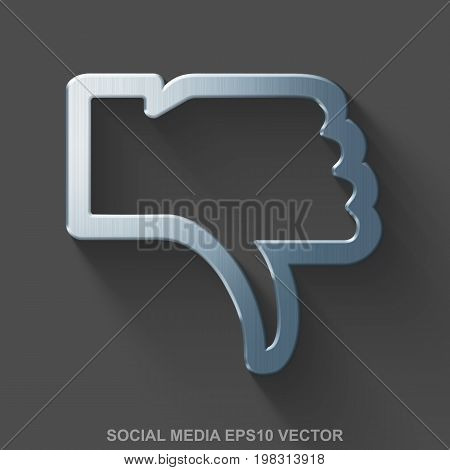 Flat metallic social media 3D icon. Polished Steel Thumb Down icon with transparent shadow on Gray background. EPS 10, vector illustration.