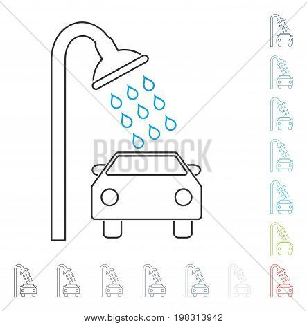 Car Shower contour icon. Vector illustration style is a flat iconic contour symbol in some color versions.